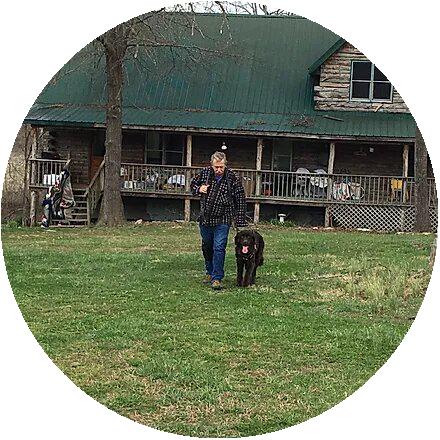Veteran walking his dog